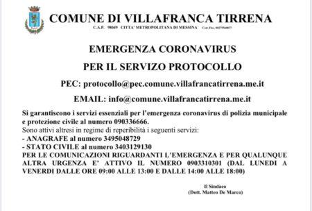 EMERGENZA CORONAVIRUS PER IL SERVIZIO PROTOCOLLO
